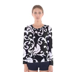 Vector Classicaltr Aditional Black And White Floral Patterns Women s Long Sleeve Tee