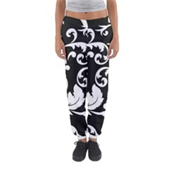 Vector Classicaltr Aditional Black And White Floral Patterns Women s Jogger Sweatpants