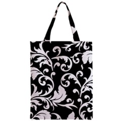 Vector Classicaltr Aditional Black And White Floral Patterns Zipper Classic Tote Bag