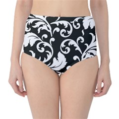 Vector Classicaltr Aditional Black And White Floral Patterns High Waist Bikini Bottoms