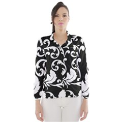 Vector Classicaltr Aditional Black And White Floral Patterns Wind Breaker (women)