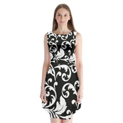 Vector Classicaltr Aditional Black And White Floral Patterns Sleeveless Chiffon Dress