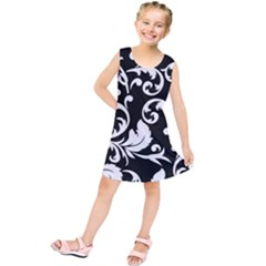 Vector Classicaltr Aditional Black And White Floral Patterns Kids  Tunic Dress