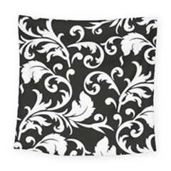 Vector Classicaltr Aditional Black And White Floral Patterns Square Tapestry (large)