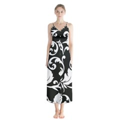Vector Classicaltr Aditional Black And White Floral Patterns Button Up Chiffon Maxi Dress