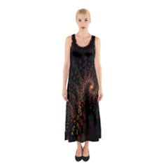 Multicolor Fractals Digital Art Design Sleeveless Maxi Dress