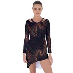 Multicolor Fractals Digital Art Design Asymmetric Cut Out Shift Dress