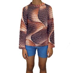 Snake Python Skin Pattern Kids  Long Sleeve Swimwear