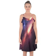 Digital Space Universe Ruffle Detail Chiffon Dress by BangZart