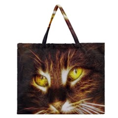 Cat Face Zipper Large Tote Bag