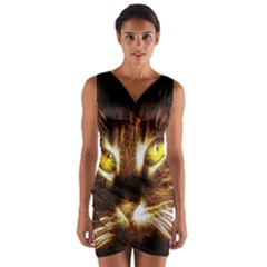 Cat Face Wrap Front Bodycon Dress