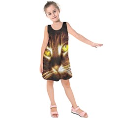 Cat Face Kids  Sleeveless Dress