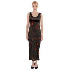 Volcanic Textures Fitted Maxi Dress