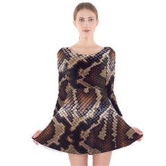 Snake Skin Olay Long Sleeve Velvet Skater Dress
