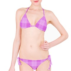 Seamless Tartan Pattern Bikini Set