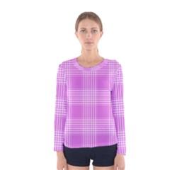 Seamless Tartan Pattern Women s Long Sleeve Tee