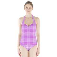 Seamless Tartan Pattern Halter Swimsuit