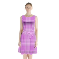 Seamless Tartan Pattern Sleeveless Waist Tie Chiffon Dress