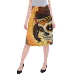 Fantasy Girl Art Midi Beach Skirt