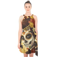 Fantasy Girl Art Halter Collar Waist Tie Chiffon Dress