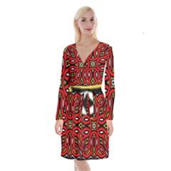 Traditional Art Pattern Long Sleeve Velvet Front Wrap Dress