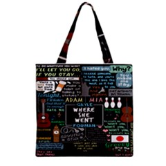 Book Quote Collage Zipper Grocery Tote Bag