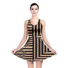 Wooden Pause Play Paws Abstract Oparton Line Roulette Spin Reversible Skater Dress by BangZart