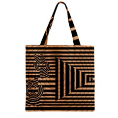 Wooden Pause Play Paws Abstract Oparton Line Roulette Spin Zipper Grocery Tote Bag