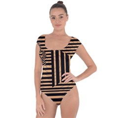 Wooden Pause Play Paws Abstract Oparton Line Roulette Spin Short Sleeve Leotard