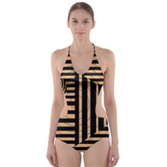 Wooden Pause Play Paws Abstract Oparton Line Roulette Spin Cut Out One Piece Swimsuit