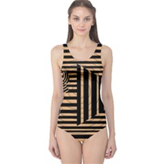 Wooden Pause Play Paws Abstract Oparton Line Roulette Spin One Piece Swimsuit