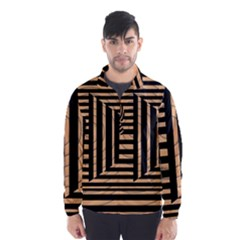 Wooden Pause Play Paws Abstract Oparton Line Roulette Spin Wind Breaker (men)