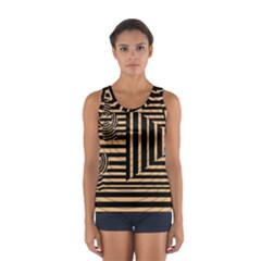 Wooden Pause Play Paws Abstract Oparton Line Roulette Spin Sport Tank Top
