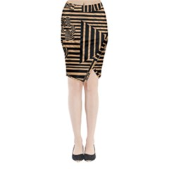 Wooden Pause Play Paws Abstract Oparton Line Roulette Spin Midi Wrap Pencil Skirt