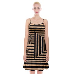 Wooden Pause Play Paws Abstract Oparton Line Roulette Spin Spaghetti Strap Velvet Dress by BangZart