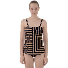 Wooden Pause Play Paws Abstract Oparton Line Roulette Spin Twist Front Tankini Set