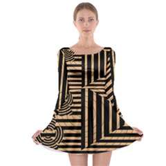 Wooden Pause Play Paws Abstract Oparton Line Roulette Spin Long Sleeve Skater Dress