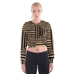 Wooden Pause Play Paws Abstract Oparton Line Roulette Spin Cropped Sweatshirt