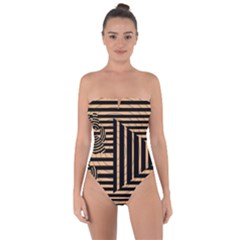 Wooden Pause Play Paws Abstract Oparton Line Roulette Spin Tie Back One Piece Swimsuit by BangZart