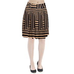 Wooden Pause Play Paws Abstract Oparton Line Roulette Spin Pleated Skirt by BangZart