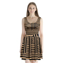 Wooden Pause Play Paws Abstract Oparton Line Roulette Spin Split Back Mini Dress