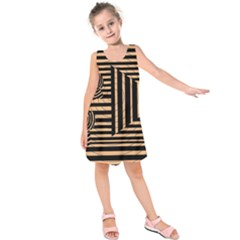 Wooden Pause Play Paws Abstract Oparton Line Roulette Spin Kids  Sleeveless Dress