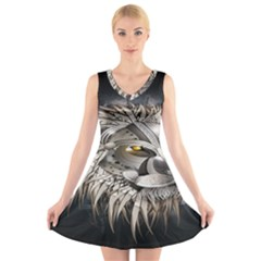 Lion Robot V Neck Sleeveless Skater Dress