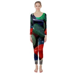 Stones Colors Pattern Pebbles Macro Rocks Long Sleeve Catsuit by BangZart