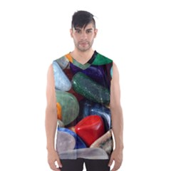 Stones Colors Pattern Pebbles Macro Rocks Men s Basketball Tank Top