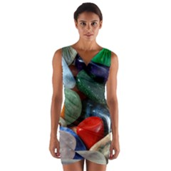Stones Colors Pattern Pebbles Macro Rocks Wrap Front Bodycon Dress