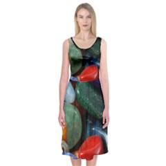 Stones Colors Pattern Pebbles Macro Rocks Midi Sleeveless Dress