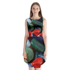 Stones Colors Pattern Pebbles Macro Rocks Sleeveless Chiffon Dress