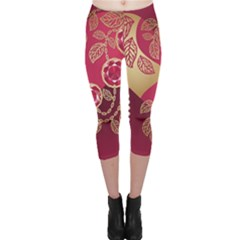 Love Heart Capri Leggings  by BangZart