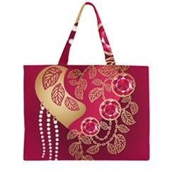 Love Heart Zipper Large Tote Bag by BangZart